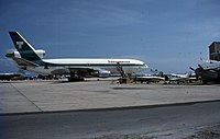 Transamerican jet being loaded with Cuban refugees in 1980.