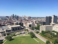 View of Union Station and the city from top of Liberty Memorial
