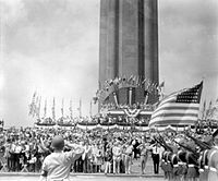 Commemorative ceremonies on its 14th anniversary at the Liberty Memorial, c.1940
