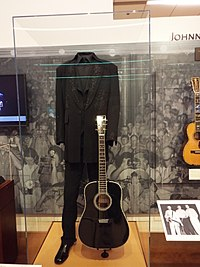 The clothes and guitar of Johnny Cash on exhibit in the Artist Gallery of the Musical Instrument Museum of Phoenix