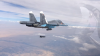 A Russian Su-34 dropping bombs on targets in Syria, 9 October 2015.