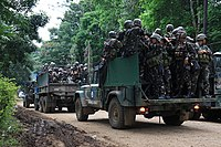 Filipino soldiers being deployed to participate in the Battle of Marawi in the Philippines, 5 June 2017.