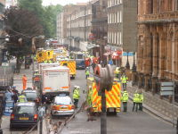 Emergency vehicles at Russell Square after the 7 July 2005 London bombings.