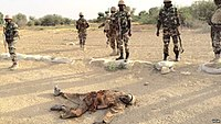 Niger soldiers with a dead Boko Haram/ISWAP terrorist near Diffa in Niger, 27 March 2015.