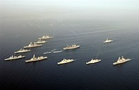 Multinational warships assigned to CTF-150 taking part in OEF–HOA, assemble in a formation.