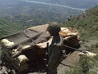Pakistani soldiers at an emplacement in the Swat Valley, during the Second Battle of Swat, 22 May 2009.