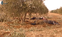 Dead ISIL terrorists near the town of Mahmudli in Syria, during the Raqqa campaign (2016–17), 17 December 2016.