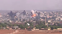Coalition Airstrikes on ISIL positions in Kobanî in Syria, during the battle for the city, 19 November 2014.