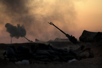 U.S. Marine Corps artillery providing fire support to the Syrian Democratic Forces during the Battle of Raqqa (2017), 21 June 2017.