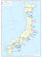 Major Allied naval air attacks and bombardments of targets in Japan during July and August 1945