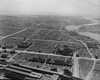 Aerial view of Tokyo following the war