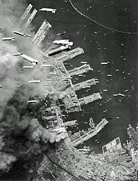 Incendiary bombs being dropped on Kobe, 4 June 1945
