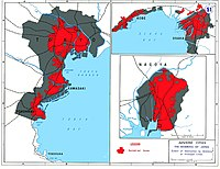 The areas of Japan's main cities which were destroyed in air attacks during World War II