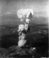 The mushroom cloud from the atomic bomb dropped on Hiroshima on 6 August 1945