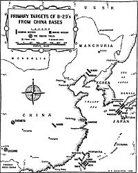 Locations of B-29 bomber bases in China and the main targets they attacked in East Asia during Operation Matterhorn