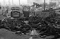 The partially incinerated remains of Japanese civilians in Tokyo, 10 March 1945