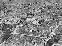 Aerial view of Osaka following the war
