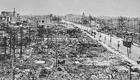 Part of Sendai after the raid on 19 July 1945