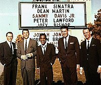 The Rat Pack at the Cal-Neva Casino. From left to right: Frank Sinatra, Dean Martin, Sammy Davis Jr., Peter Lawford, and Joey Bishop.
