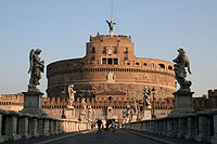 Castel Sant'Angelo or Hadrian's Mausoleum, is a Roman monument radically altered in the Middle Ages and the Renaissance built in 134 AD and crowned with 16th and 17th-century statues.