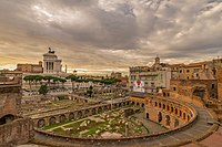 The Imperial fora belong to a series of monumental fora (public squares) constructed in Rome by the emperors. Also seen in the image is Trajan's Market.