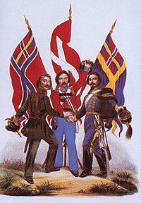 Scandinavism—a Norwegian, a Dane and a Swede. This image is considered emblematic of Scandinavism and is widely used in Scandinavian school books
