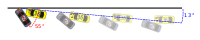 Earnhardt's car struck the concrete retaining wall at a heading angle (angle of the vehicle measured from the wall face to the center-line of the car at point of impact) of between 55–59°, combined with a trajectory angle of 13.6° (path of vehicle approaching the wall).
