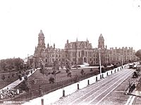 College Hall and then Logan Hall viewed from Woodland Ave., c. 1892