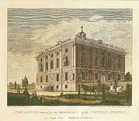 """""""House intended for the President of the United States"""" from """"Birch's Views of Philadelphia"""" (1800), home of the University of Pennsylvania from 1801 to 1829"""