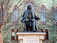 This statue of Benjamin Franklin donated by Justus C. Strawbridge to the City of Philadelphia in 1899 now sits in front of College Hall.