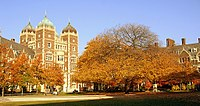 """""""The Quad"""" in the Fall, from Fisher-Hassenfeld College House, facing Ware College House"""