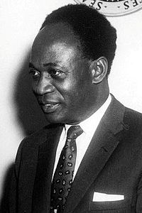 Kwame Nkrumah, first president of Ghana, and previously first prime minister of Ghana