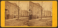 Ninth Street Campus (above Chestnut Street) in stereographic image: Medical Hall (left) and College Hall (right), both built 1829–1830