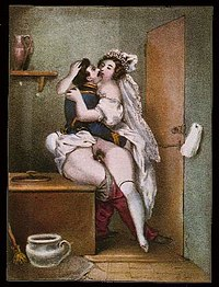 19th-century painting of a couple engaged in vaginal intercourse, by Achille Devéria