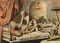 Édouard-Henri Avril depiction of a woman on top position, a position that is more likely to stimulate the clitoris