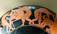 Erotic painting on ancient Greek kylix