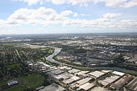 An aerial view of Greater Western Sydney: As well as being mostly suburban in nature, western Sydney is also made up of various industrial precincts and business parks