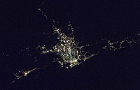 Satellite photo of the Sydney area at night. Wollongong can be seen at bottom left, while Gosford and the Central Coast are visible at the far right.