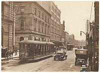A tramcar on George Street in 1920. Sydney once had one of the largest tram networks in the British Empire.
