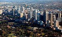 The central business district. Sydney is the financial and economic centre of Australia, having the largest economy and contributing a quarter of Australia's total GDP