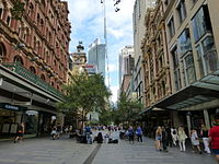 Pitt Street, a major street in Sydney CBD, runs from Circular Quay in the north to Waterloo in the south and is home to many large high-end retailers.