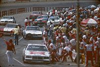 The pits during a 1985 NASCAR Cup race