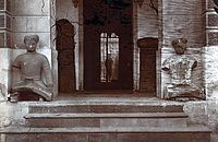 Rao Jaimal and Patta (Rajasthan), mounted on a pair of black marble elephants which stood outside the Delhi Gate at the Red Fort. Originally stood outside the fort at Agra