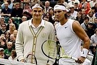 Federer and Nadal ahead of the 2008 Wimbledon final