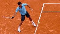 Federer winning the 2009 French Open, and completing the career Grand Slam