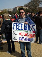 A man satirizing the concept of a gay agenda at the Rally to Restore Sanity and/or Fear