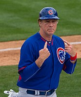 Ferrell coaching third base for the Chicago Cubs during a spring training game in 2015