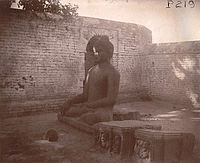 """The """"Black Buddha Statue"""", photographed by Alexander E Caddy, in 1895. Another view"""