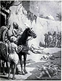 The image, in the chapter on India in Hutchison's Story of the Nations edited by James Meston, depicts the Muslim Turkic general Bakhtiyar Khalji's massacre of Buddhist monks in Bihar, India. Khaliji destroyed the Nalanda and Vikramshila universities during his raids across North Indian plains, massacring many Buddhist and Brahmin scholars.