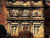 Sculpted stucco panels on a tower, Stupa of Sariputta
